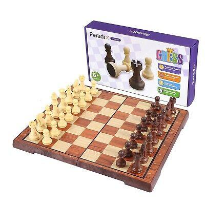 Beautiful Wooden Indian Travel Chess Board 13Cm Squ Magnetic Pieces Drawer Ic1