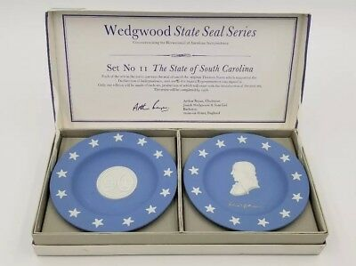 WEDGWOOD Jasperware State Seal Series South Carolina Plates Trinket *NIB 1976