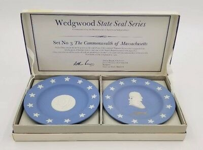 WEDGWOOD Jasperware State Seal Series Massachusetts Plates Trinket *NIB 1976