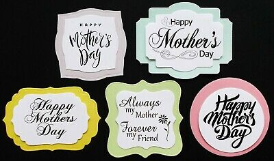 Mother's Day Sentiment Card Toppers With Matching Colour Shape Backing X 5 Sets
