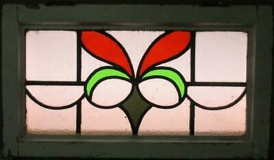 """MID SIZED OLD ENGLISH LEADED STAINED GLASS WINDOW Gorgeous Abstract 25.25"""" x 14"""""""