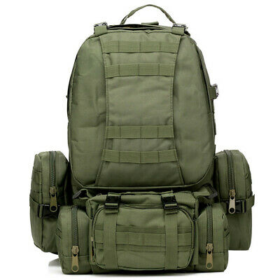 Outdoor 50L Hiking Camping Bag Army Military Tactical Rucksacks Backpack Green