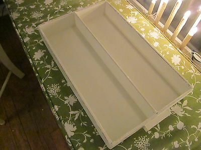 Antique divided wood box. Dovetailed/creamy shabby white.Centerpiece.