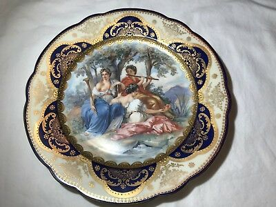 "Pauly & Co 9-1/2"" Porcelain Cabinet Plate, 1800s  Venice Italy Porcelain"