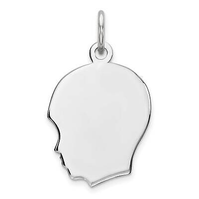 Sterling Silver Engravable Boy Disc Flat Back Polished Charm Pendant 23mmx17mm 2019 Official Jewelry & Watches Precious Metal Without Stones