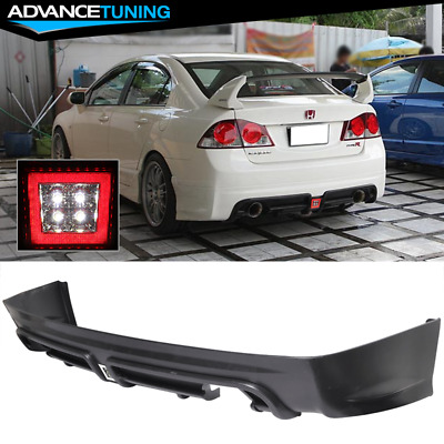 Fits 06-11 Honda Civic 4DR Sedan Mugen RR Style Rear Bumper Diffuser Twin Outlet