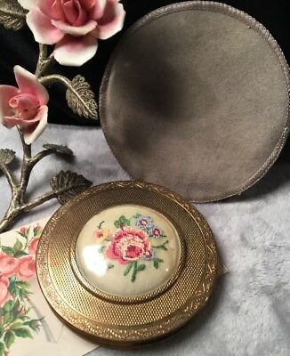 Antique Art Deco 30s Round Brass Petit Point lid Collectable Powder Compact