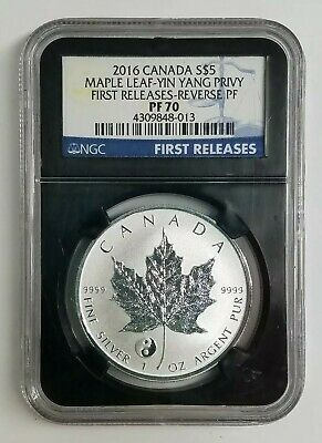 Ngc  Pf70 2016 Silver Maple Leaf-Yin Yang Privy First Release-Reverse Proof