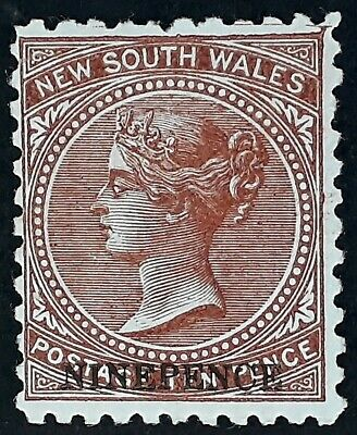 1882- NSW Australia 9d Surcharge on 10d red Brown DeLaRue stamp Perf 11X11 Mint