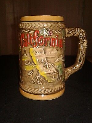 VTG Beer Stein Style Mug California Decorative 3D Features Sites of the State