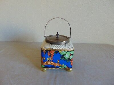 Antique L & Sons English Biscuit Jar Japanese Scene