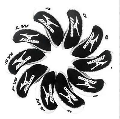 Hot 10pcs A Set White&Black Neoprene Golf Club Iron Cover Headcovers For Mizuno