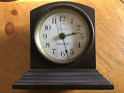 Antique New Haven 8 Day Alarm Clock, The New Haven Clock Co., Wood Case 1908