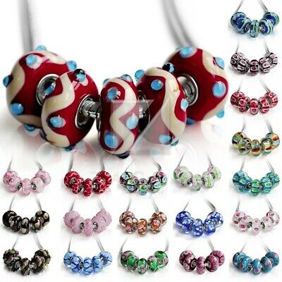 5pcs Silver Murano Glass Lampwork Beads European Charm Bracelet Findings LB0097