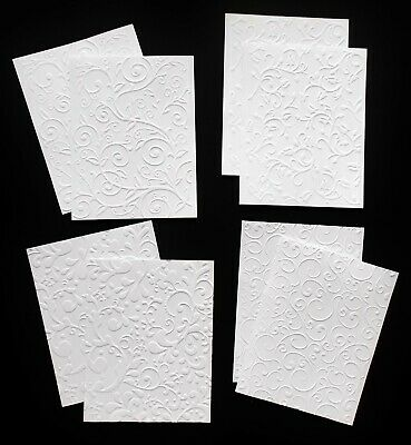 Embossed White Card Paper X 8 Patterned 2 Each Mixed Florals Swirls & Flourishes