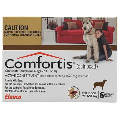 Comfortis Brown for Dogs 27.1-54kg x 6 Tablets FREE SHIPPING