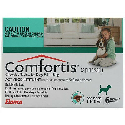 Comfortis Green for Dogs 9.1-18kg x 6 Tablets FREE SHIPPING