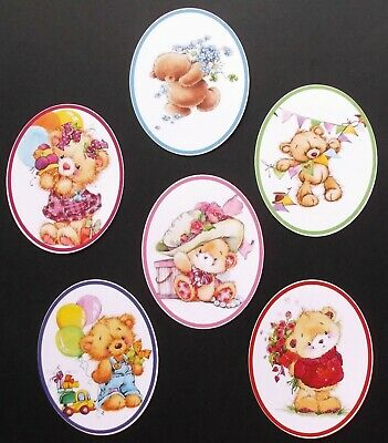 Mixed Cute Bear Card Topper Ovals X 6 For Mum Mothers Day Sister Child Birthday