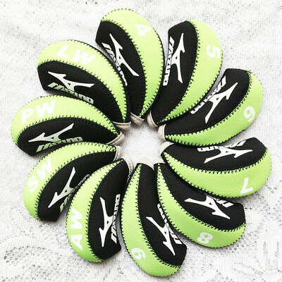 New 10pcs A Set Green&Black Neoprene Golf Club Iron Cover Headcovers For Mizuno