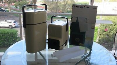 DECOR RETRO WINE COOLER AND MATCHING WINE CASK SET BOTH BEIGE COLLECTABLE1980' s