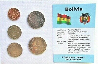 BOLIVIA, SET of 5 GEM UNCIRCULATED COINS
