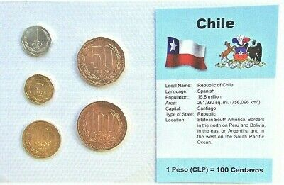 CHILE, SET of 5 GEM UNCIRCULATED COINS