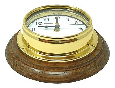 Tabic Solid Brass Arabic Clock Mounted on an English oak Mount, Handmade.