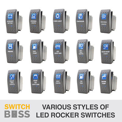 Rocker Switch - 42 Styles - Blue WATERPROOF LED 4x4 Boat Caravan 12v Spot Light