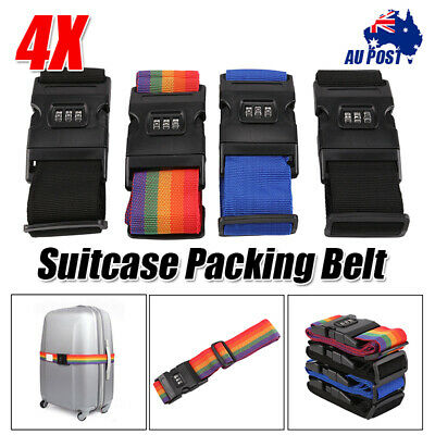 4X Travel Luggage Suitcase PASSWORD Secure LOCK Durable Packing Strap Belt Safe