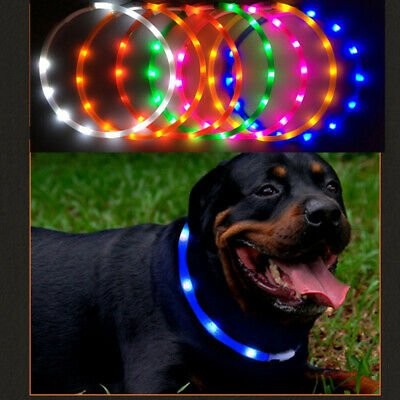 USB Rechargeable Pet Collar LED Flashing Light Waterproof Band Dog&Cat Toys