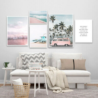 Pink Bus Beach Wall Art Canvas Poster Nordic Style Print Picture Home Decoration