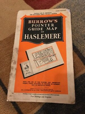 VINTAGE BURROWS POINTER GUIDE MAP OF Haslemere