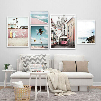 Coastal Beach Wall Art Canvas Poster Nordic Landscape Print Picture Decoration