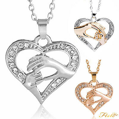 Mother and Daughter Heart Necklace Gifts for Her Mum Crystal Gold Jewellery