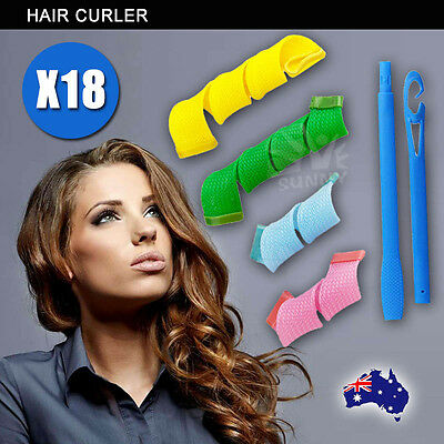 Magic Hair Curler No Heat 18PCS Leverage Curlers Formers Spiral Styling RolleF9