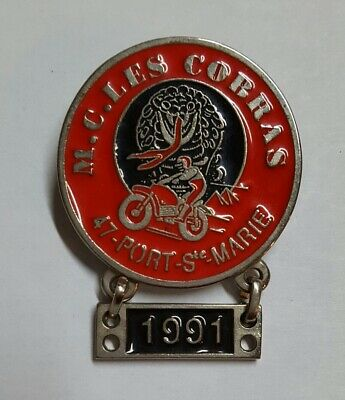 Badge Moto M.c. Les Cobras 47 Port Saint Marie 1991
