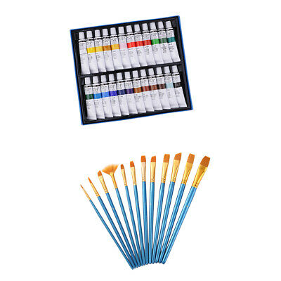12pcs Painting Brushes + 24 Colors Tube Acrylic Paints Pigment for Artists