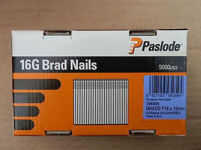 5000pcs Paslode F16 19mm Galvanised Brad Nails 16G Straight Brads Large Box
