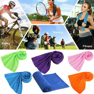 2x Instant Ice Gym Quick Dry Microfibre Cooling Sports Towel for Golf Swimming Y