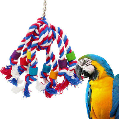 Colorful Bird Rope Parrot Swing Cage Teeth Grinding Toy For Parakeet Cockatiel
