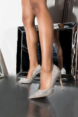 b8b18724cb6 New Sold Out Steve Madden Silver Daisie-R Rhinestone Pumps Pointed Toe Heels  7.5