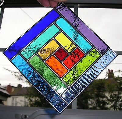 Stained Glass Panel, Abstract Rainbow Suncatcher, Geometric, Handmade in England