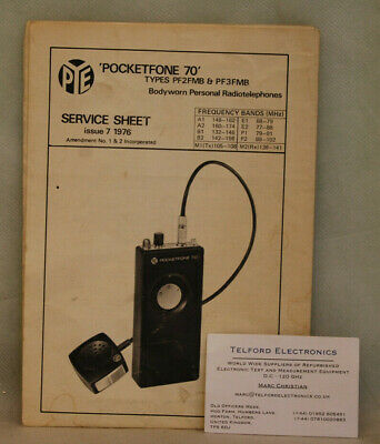 PYE PocketFone 70 Types PF2FMB & PF3FMB Service Sheet