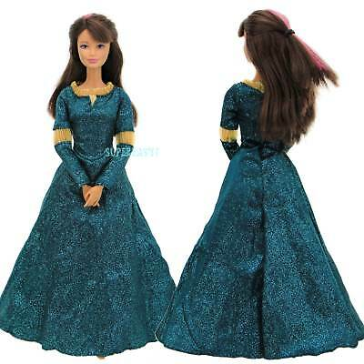 Green Dress Princess Gown Party Merida Daily Clothes For Barbie Doll Accessories