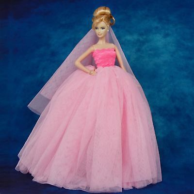 Pink Wedding Party Gown Princess Dress + Veil Clothes for 12 in. Doll Toy Gift