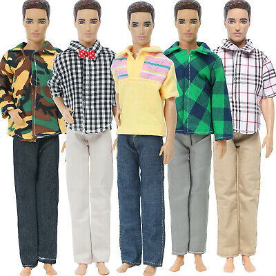 5 Sets Fashion Shirt Pants Daily Casual Dress Men Clothes For 12 in. Ken Doll