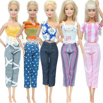 5 Outfits Fashion Daily Dress Blouses Trousers Pants Clothes For 12 IN. Doll 07A