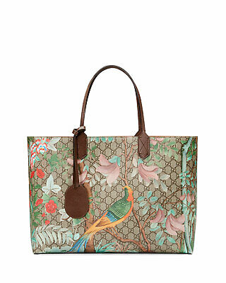 a8023a3e4ff Gucci Tian GG Blooms tote Leather Handbag Bag New Signature Bird Flower  Large