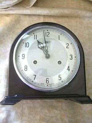 Vintage 1950's Smiths Enfield Brown Bakelite Mantle Clock. Recently serviced.