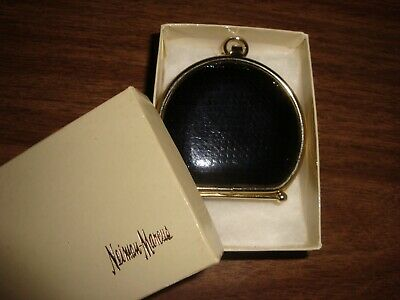 Neiman Marcus - Black Leather Collapsible Coin Purse - Vintage